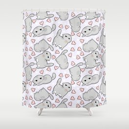 Angry Cat Candy Hearts Shower Curtain