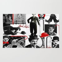 charlie chaplin Area & Throw Rugs featuring CHARLIE by BLUE VELVET DESIGNS