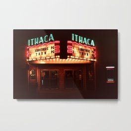 Night Lights Ithaca Theater Metal Print