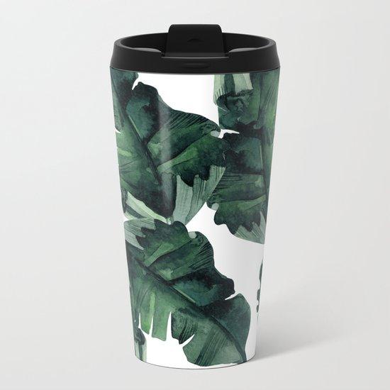Banana Leaves Pattern Green Metal Travel Mug
