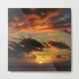 Red Tropical Sunset Metal Print