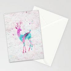Pink and Turquoise Cute Deer Animal Watercolor Art Stationery Cards