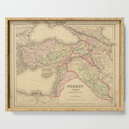 Vintage Map Print - 1857 Map of the Ottoman Empire in the Middle East Serving Tray
