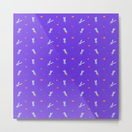 St. Valentine's Day Pattern. Purple pattern with a bunny and gray hearts Metal Print