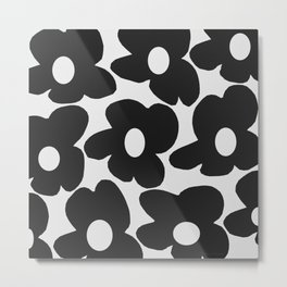 Black Retro Flowers White Background #decor #society6 #buyart Metal Print