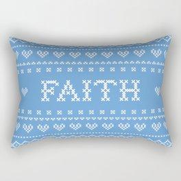 FAITH faux cross stitch sampler on light blue Rectangular Pillow