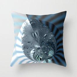 Metallic shine on a yin yang type fractal form Throw Pillow