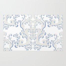 White Blue Floral Bouquet Rug