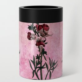Vintage Bees with Toadflax Botanical illustration collage Can Cooler