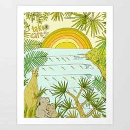 take care, view noosa australia // retro surf art by surfy birdy Art Print