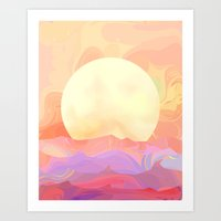 sunrise Art Prints featuring Sunrise by Okti
