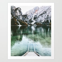 braies lake Art Print