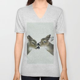 Kiss me my deer, by Claude Thivierge Unisex V-Neck
