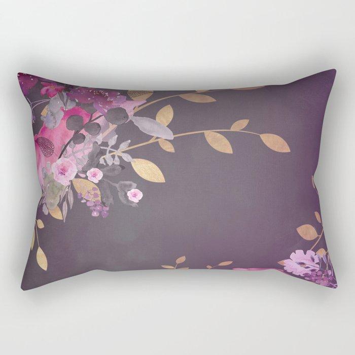 FLOWERS & GOLD  Rectangular Pillow