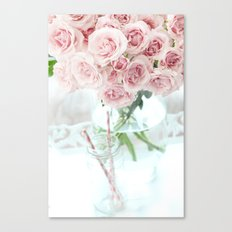 Shabby Chic Cottage Vintage Pink Pastel Roses In Clear Vase Prints and Home Decor Canvas Print