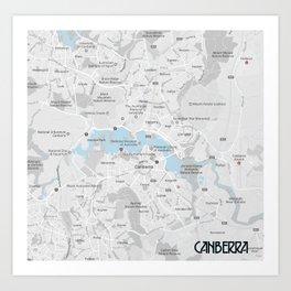 Minimalist Modern Map of Canberra, Australia 2A Art Print