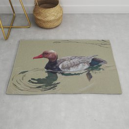 Red Crested Pochard (Netta Rufina) Colored Pencils Artwork Rug