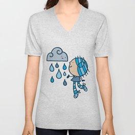Rain Cloud Girl Unisex V-Neck