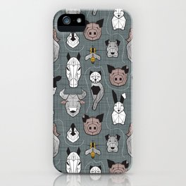 Friendly Geometric Farm Animals // green grey linen texture background black and white brown grey and yellow pigs queen bees lambs cows bulls dogs cats horses chickens and bunnies iPhone Case