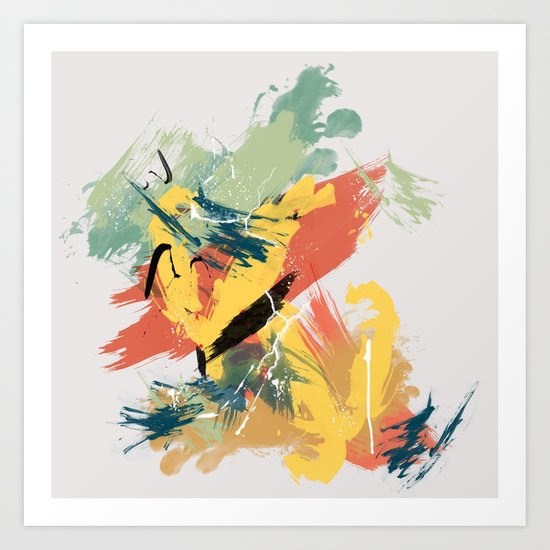 Intuitive Conversations, Abstract Mid Century Colors Art Print