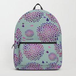 Dahlia Purple Pattern Sage Green Backpack