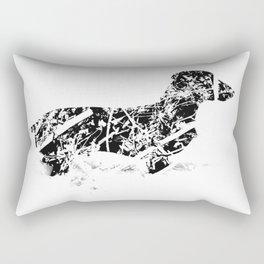 Dachshund in the snow Rectangular Pillow