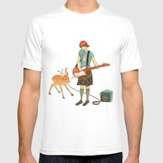Guitar Fawn White Mens Fitted Tee MEDIUM