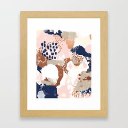 Sonia - rose gold navy copper modern abstract rosegold trendy pattern cell phone accessories Framed Art Print