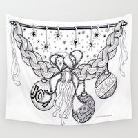 swag Wall Tapestries featuring Christmas Zentangle Swag in Black and White for Adult Colorists by Vermont Greetings