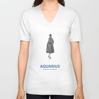 aquarius V-neck T-shirts featuring Aquarius by Cansu Girgin
