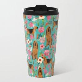Bloodhound floral dog breed dog pattern pet friendly pet portraits custom dog gifts mint Travel Mug
