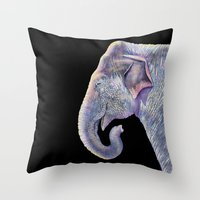 asian Throw Pillows featuring Asian Elephant by Tim Jeffs Art
