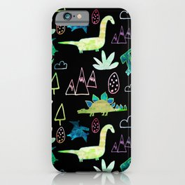 Dino Fun land Black iPhone Case