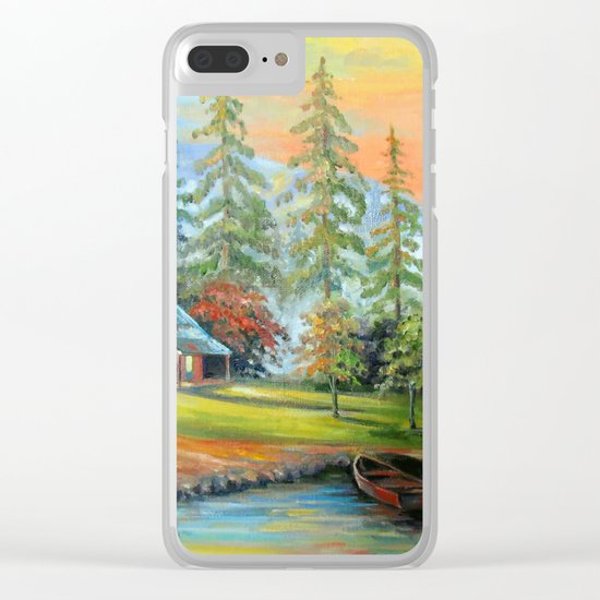 House at the mountain river Clear iPhone Case