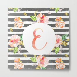E botanical monogram. Letter initial with colorful flowers and gray stripes Metal Print