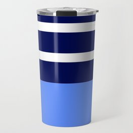 Summer Patio Perfect, Blue, White & Navy Travel Mug