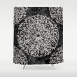 MANDALA ON BLACK MARBLE Shower Curtain