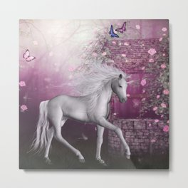 unicorn in a roses garden Metal Print