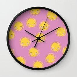 Little sunny sunshine love summer sky girls pink Wall Clock