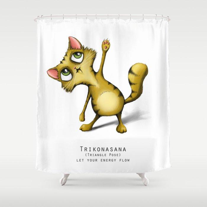 yoga cat Trikonasana Shower Curtain