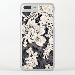 black and white lace- Photograph of vintage lace Clear iPhone Case