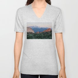 Sunrise at Garden of the Gods and Pikes Peak Unisex V-Neck