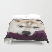 husky Duvet Covers featuring husky puppy. by lissalaine