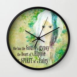 Blue Gypsy, Hippie, Fairy  Wall Clock