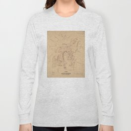Vintage Map of The Battle of Gettysburg (1864) Long Sleeve T-shirt