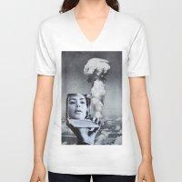 kardashian V-neck T-shirts featuring Kim Kardashian by John Turck