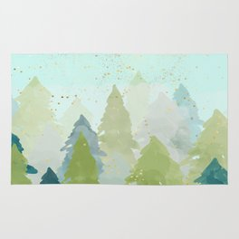 Teal Abstract Gold Glitter Forest Rug