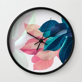Pink and Blue Leaf Wall Clock