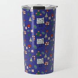 Christmas Owl Blue #Christmas #Holiday Travel Mug