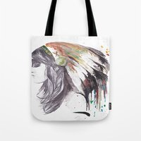 indiana Tote Bags featuring Indiana  by Megan Sheridan